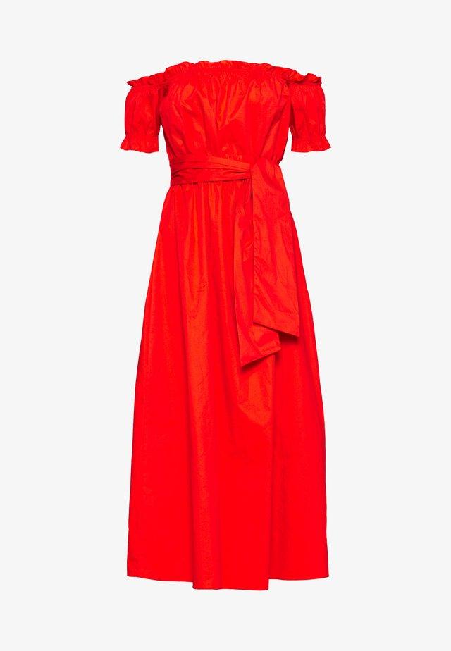 BARDOT DRESS WITH TIE DETAIL - Długa sukienka - orange