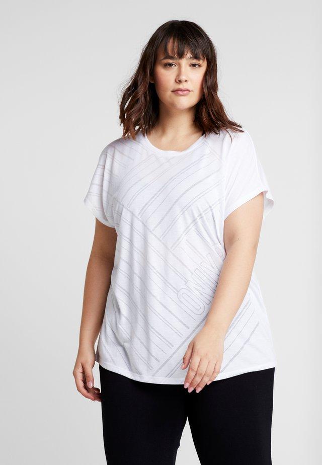 ONPJONI LOOSE BURNOUT TEE  - Printtipaita - white