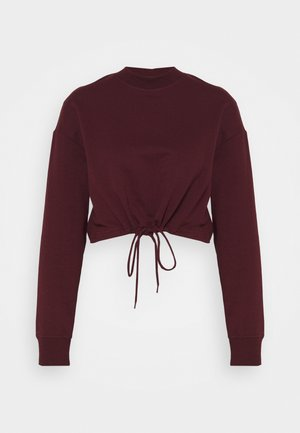TIE HEM CROPPED SWEATSHIRT - Felpa - dark red