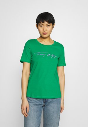 REGULAR SCRIPT OPEN TEE - Print T-shirt - primary green