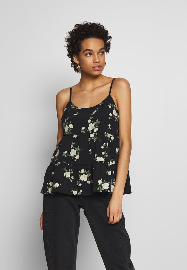FLORAL TIERED CAMI  - Top - black
