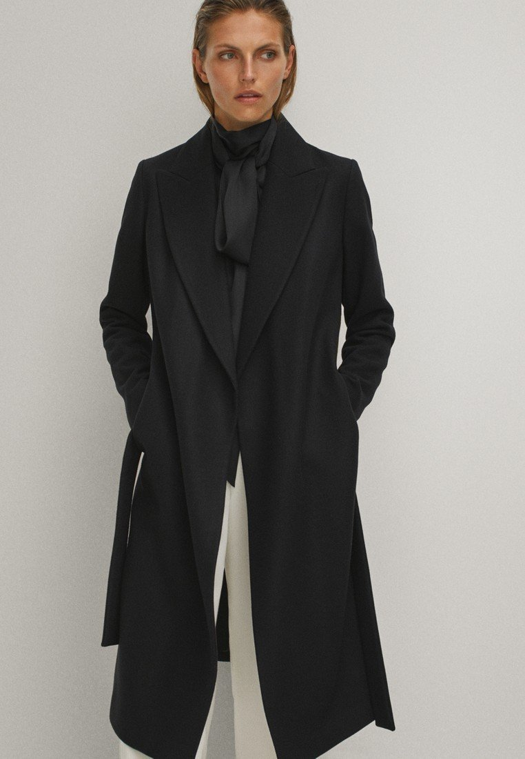 Massimo Dutti - Płaszcz wełniany /Płaszcz klasyczny - black
