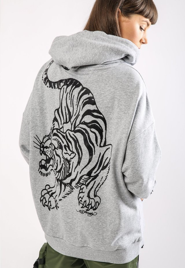 TIGER-GIANT POUCH HOODY - Luvtröja - grey