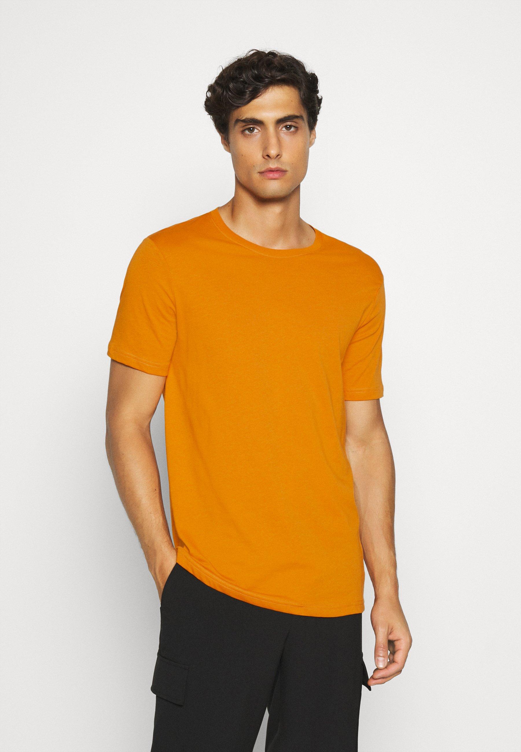 TOM TAILOR SLUB CREW NECK - T-shirts med print - deep golden yellow