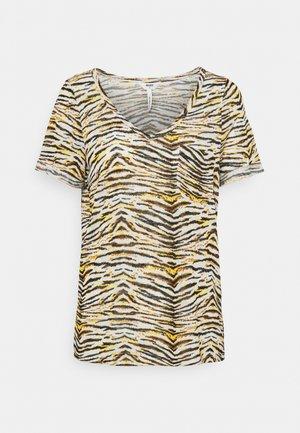 OBJTESSI SLUB V NECK SEASON - Print T-shirt - humus/tiger