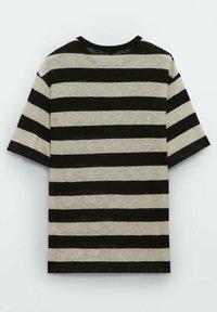 Massimo Dutti - GESTREIFTES SHIRT AUS REINER - Print T-shirt - black - 6