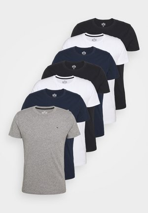 CREW 7 PACK - Basic T-shirt - white/black/grey siro/navy
