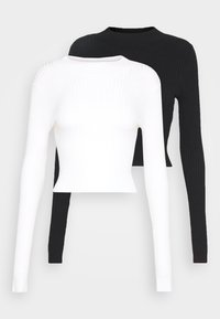 Even&Odd - 2 PACK- CROPPED JUMPER - Strickpullover - black/white - 0