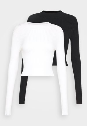 2 PACK- CROPPED JUMPER - Stickad tröja - black/white