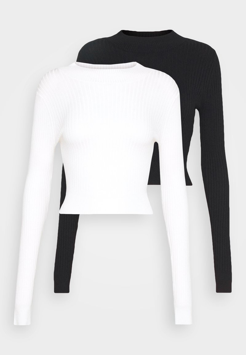 Even&Odd - 2 PACK- CROPPED JUMPER - Strickpullover - black/white