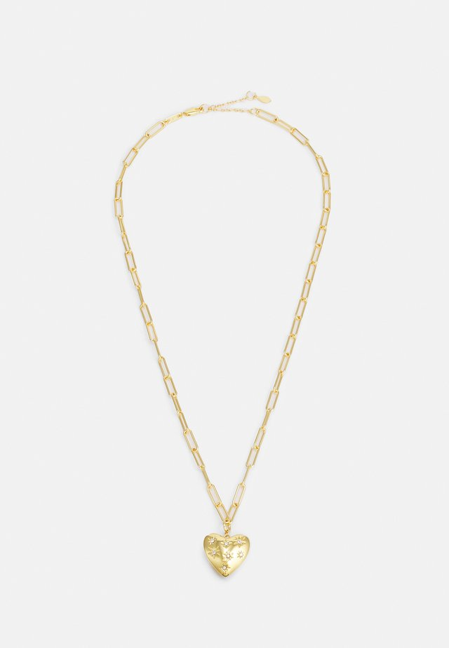 PUFFY HEART PENDANT EMBEDDED STARS - Ketting - gold-coloured