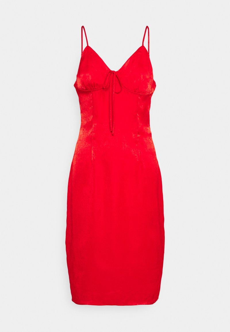 Missguided Petite - TIE BUST MIDAXI DRESS - Cocktailkjole - red