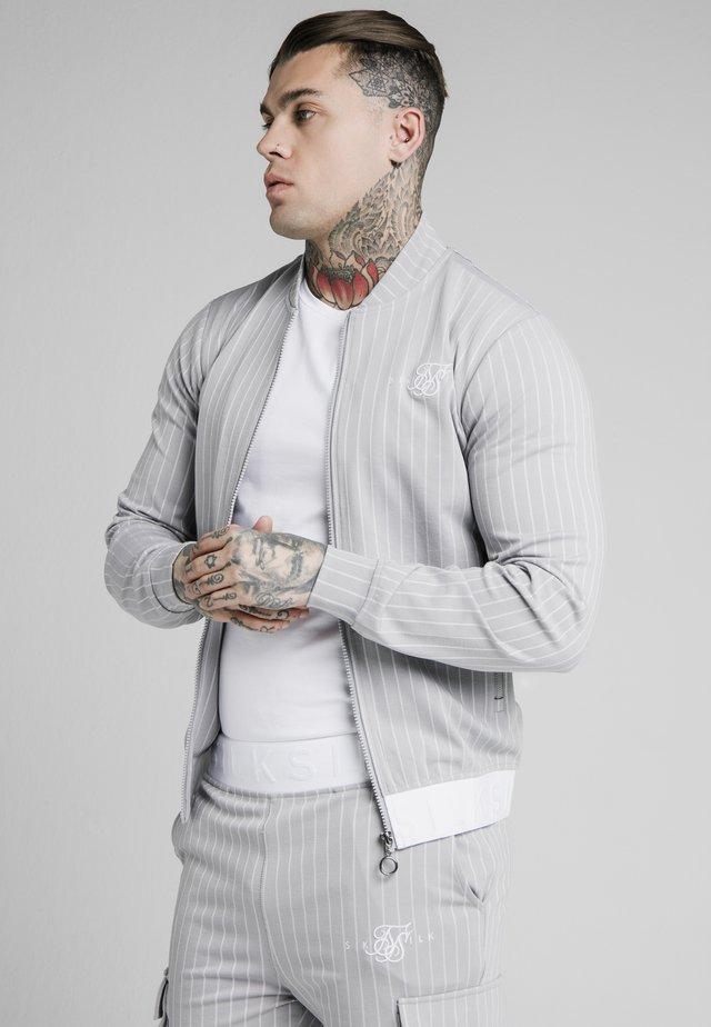 DUAL STRIPE - Bomber Jacket - grey/white
