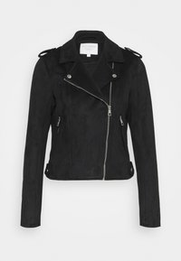 TOM TAILOR DENIM - BIKER JACKET - Faux leather jacket - deep black - 0