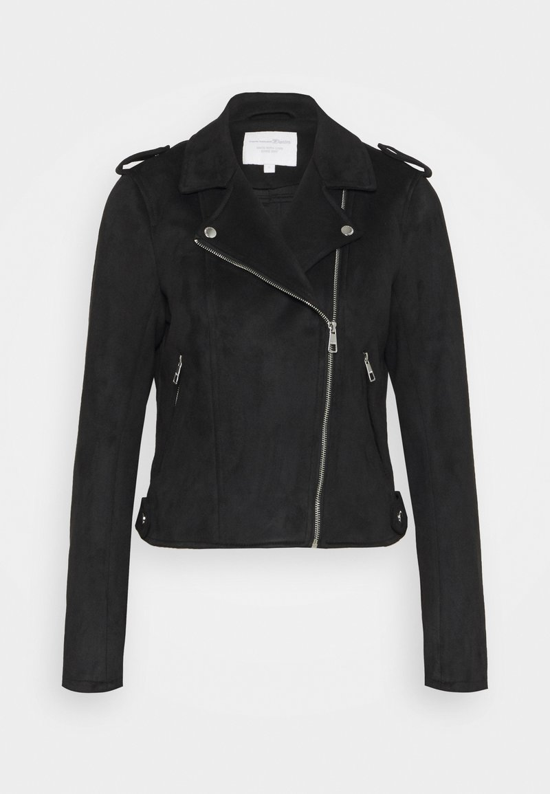 TOM TAILOR DENIM - BIKER JACKET - Faux leather jacket - deep black