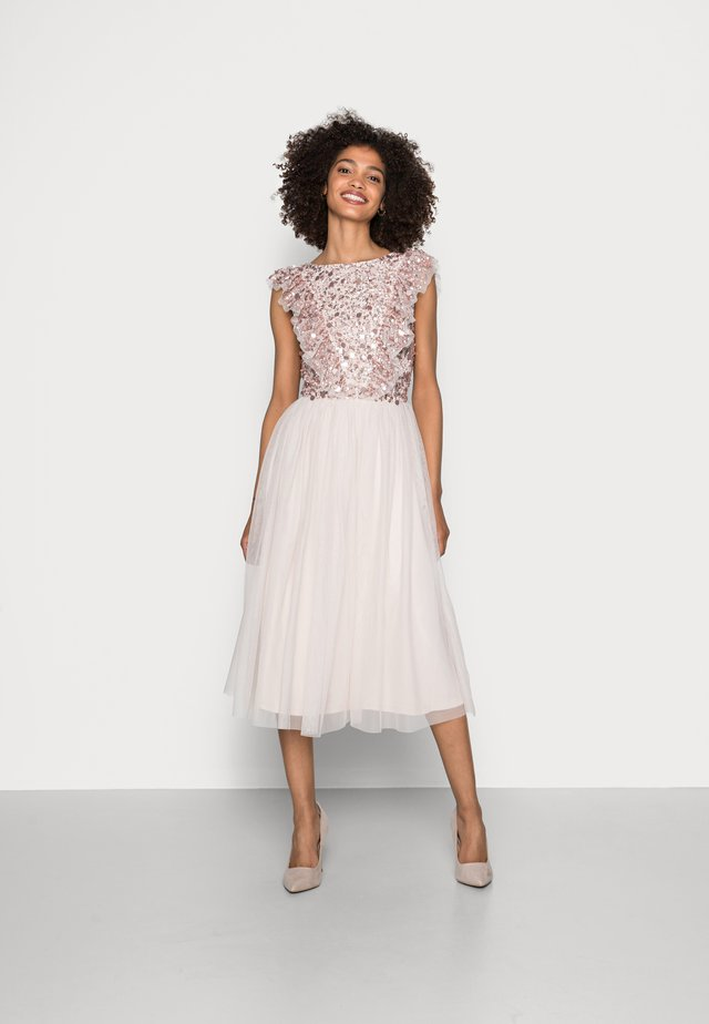 RUFFLE BODICE BACK EMBELLISHED MIDI DRESS - Cocktail dress / Party dress - pearl pink