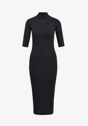 MOCK SLIM HALF SLEEVES - Jumper dress - dk black