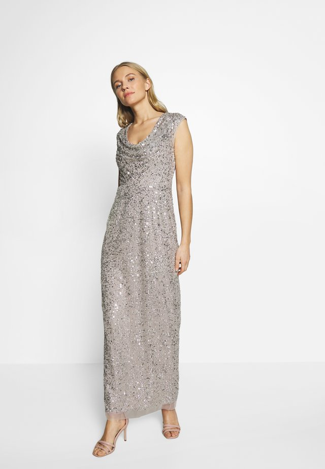 LONG BEADED DRESS - Abito da sera - silver