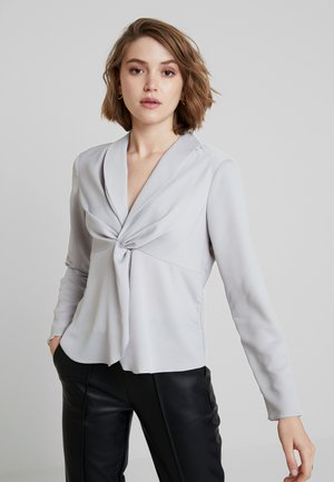 KNOT FRONT LONG SLEEVE - Blouse - silver
