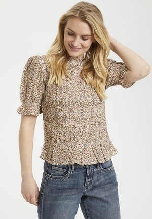 Blouse - small brown flower
