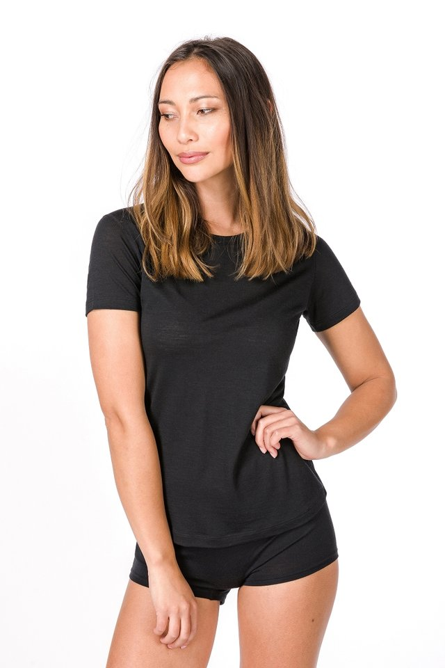W BASE TEE - Basic T-shirt - black