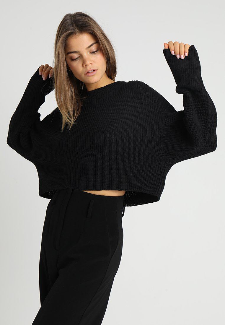 Even&Odd - BASIC- cropped jumper - Sweter - black