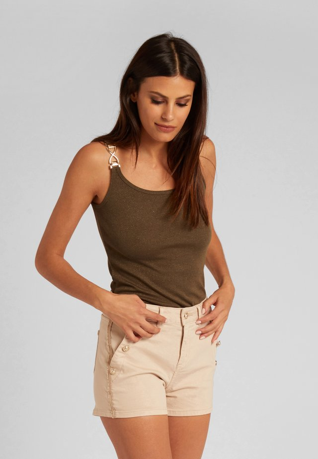 WITH ORNAMENTS - Top - khaki