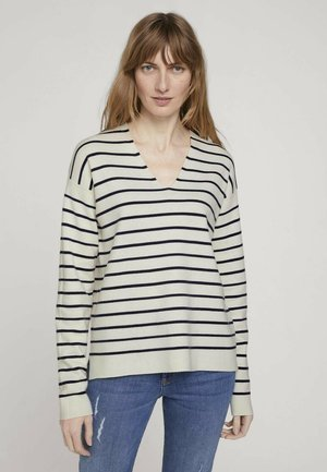 Jumper - offwhite navy stripe