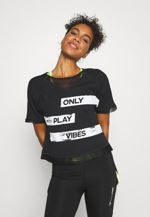 ONPMETTA LIFE SHORT TEE - Camiseta estampada - black/white