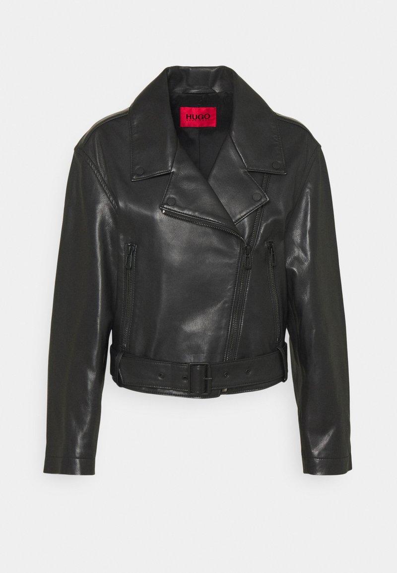 HUGO - LAFERI - Leather jacket - black