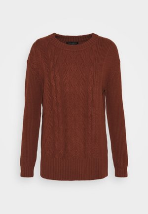 BLOCKED CABLE CREW - Jersey de punto - rust brown