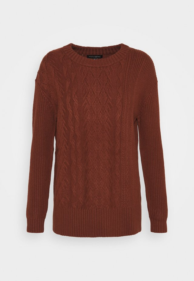 BLOCKED CABLE CREW - Trui - rust brown