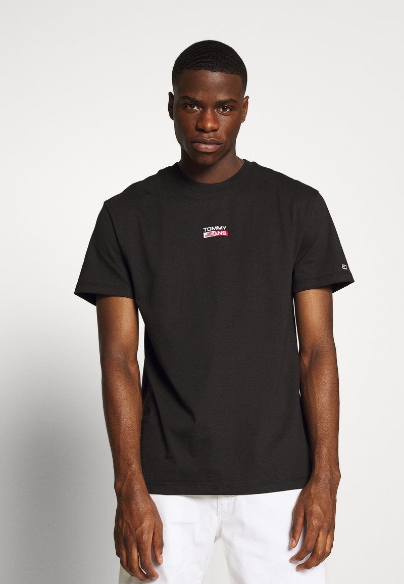 Tommy Jeans - SMALL CENTERED LOGO TEE - Print T-shirt - black