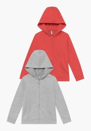 2 PACK - Mikina na zip - spiced coral/light grey