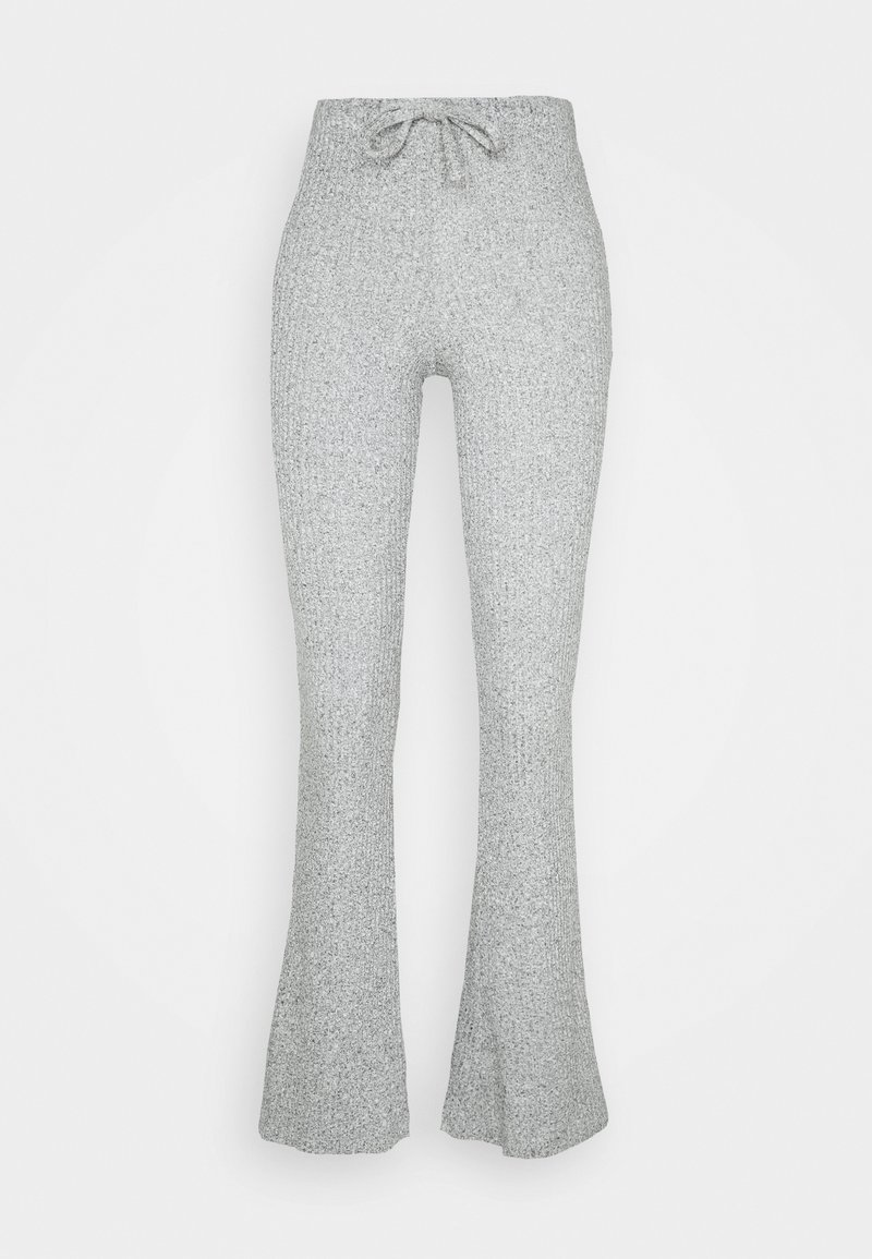 Topshop - TIE RIBBED FLARE TROUSERS - Pantalon classique - grey
