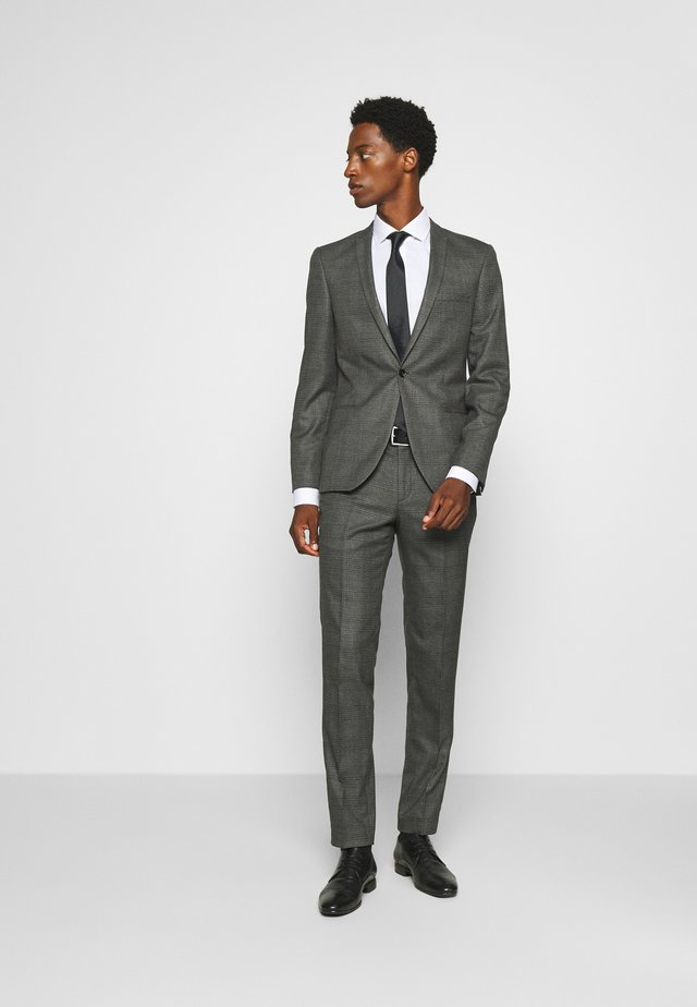 CHECK - SLIM FIT SUIT - Puku - charcoal