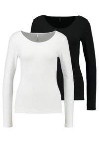 ONLY - ONLLIVE LOVE O-NECK 2PACK - Long sleeved top - black/white - 0