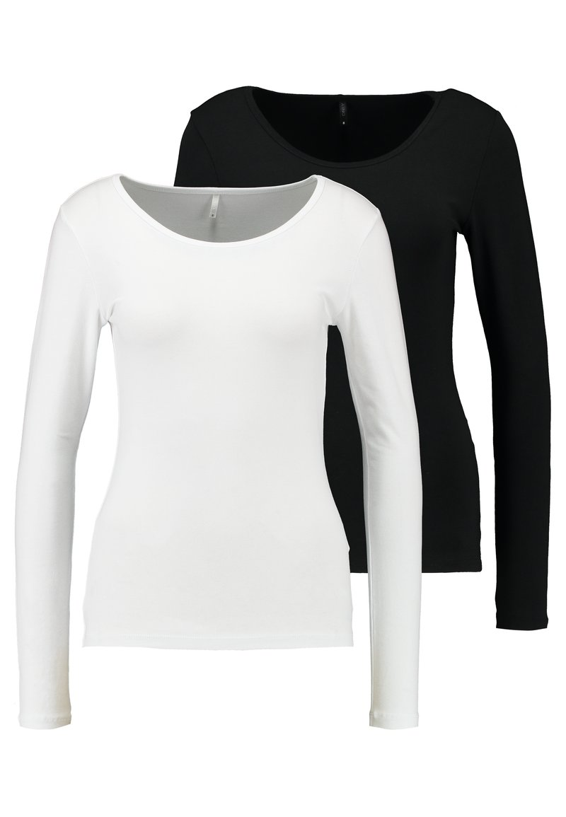 ONLY - ONLLIVE LOVE O-NECK 2PACK - Long sleeved top - black/white