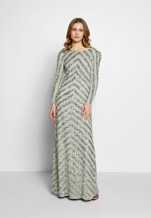 BOAT NECK STRIPE MAXI DRESS - Gallakjole - green
