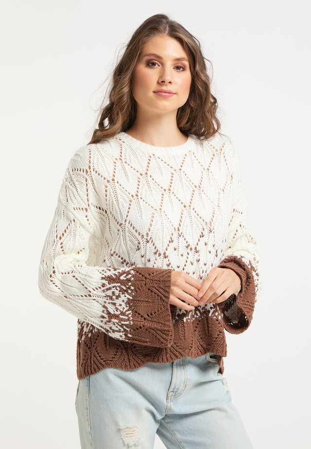 Pullover - wollweiss braun