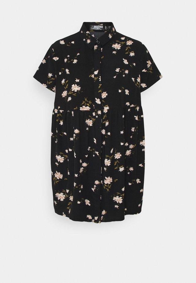 SMOCK DRESS FLORAL - Shirt dress - black
