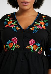 Simply Be - EMBROIDERED V NECK DRESS - Day dress - black - 6