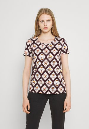 ALLOVER PRINTED TEE - T-shirt print - brown/white