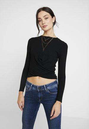 LONGSLEEVE WRAP TEE - Bluzka z długim rękawem - black