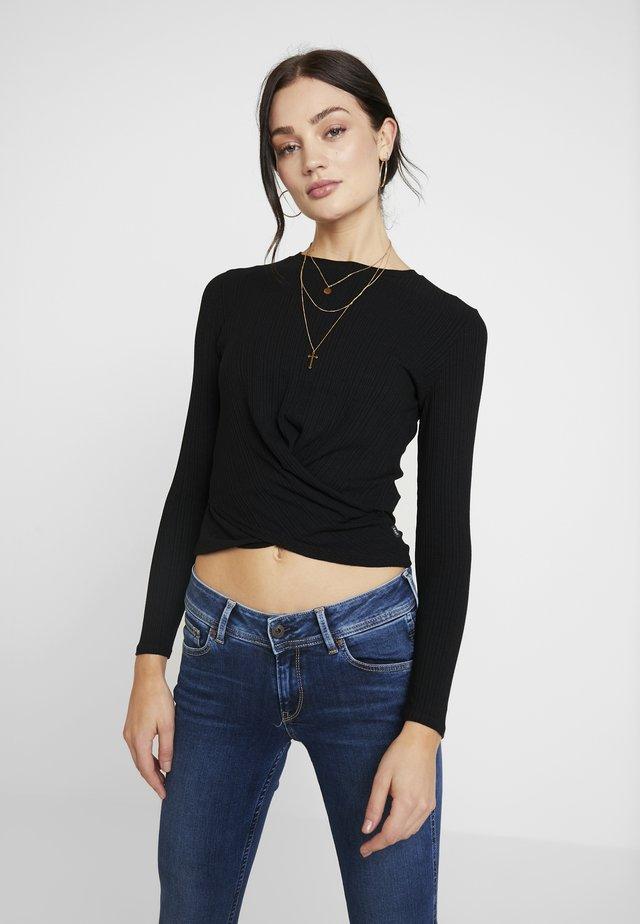 LONGSLEEVE WRAP TEE - Long sleeved top - black