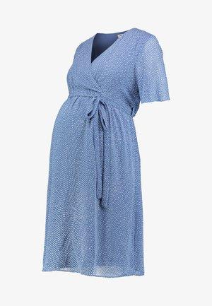 PIN SPOT WRAP DRESS - Day dress - blue