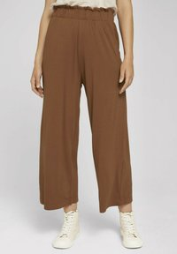 TOM TAILOR DENIM - PAPERBAG CULOTTE WITH POCKETS - Trousers - amber brown - 0