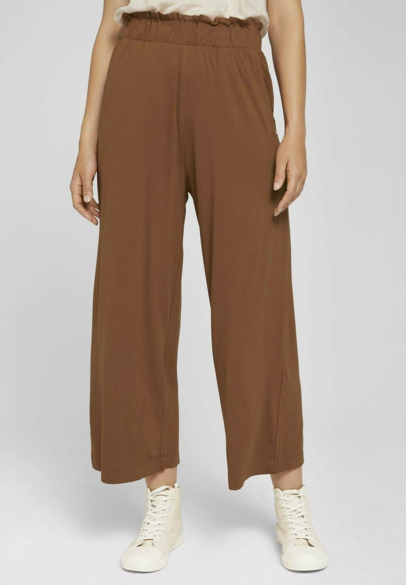 TOM TAILOR DENIM - PAPERBAG CULOTTE WITH POCKETS - Trousers - amber brown