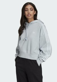 adidas Originals - ADICOLOR CLASSICS CROP HOODIE - Sweat à capuche - blue - 0