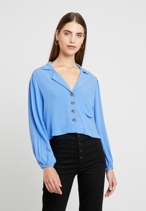 CROP LAPEL - Button-down blouse - blue